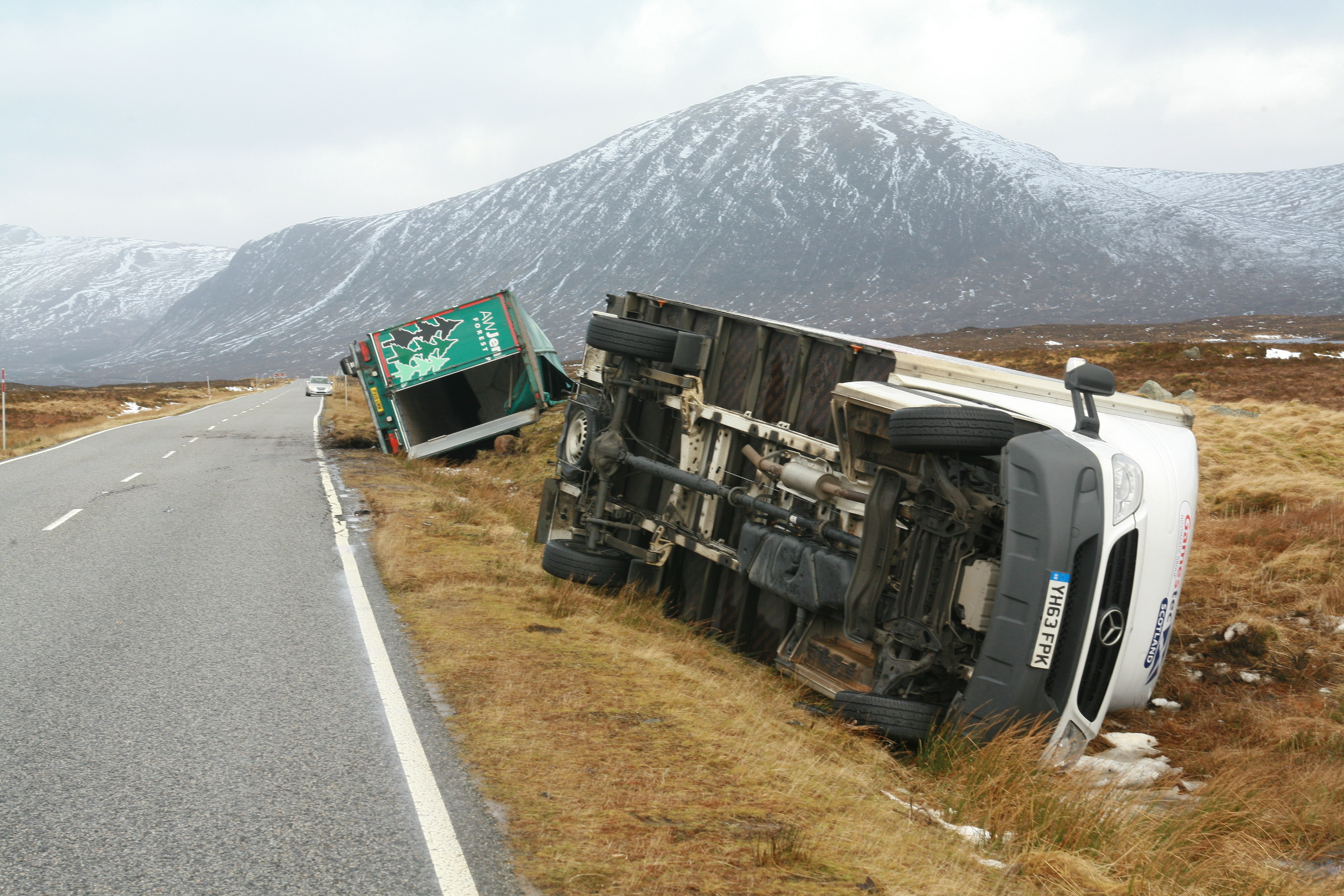 A lorry and a van overturned on the A82 south of Glencoe