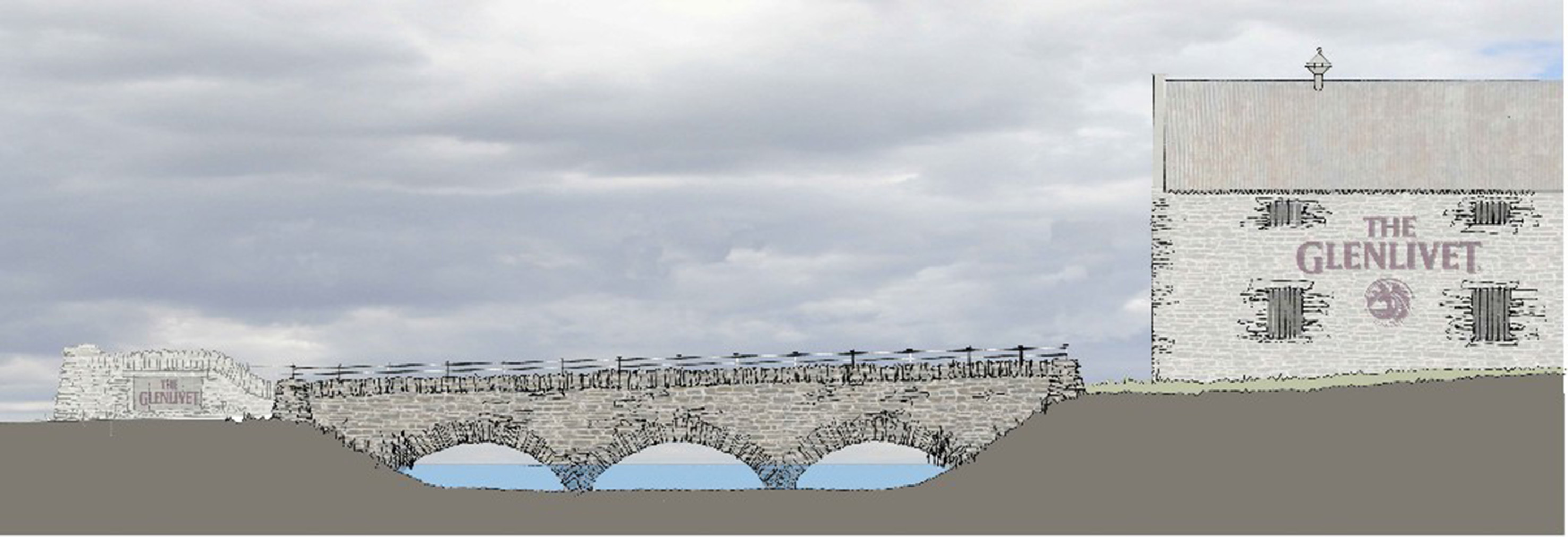 A computer generated image of the new road bridge at The Glenlivet Distillery in Speyside.
