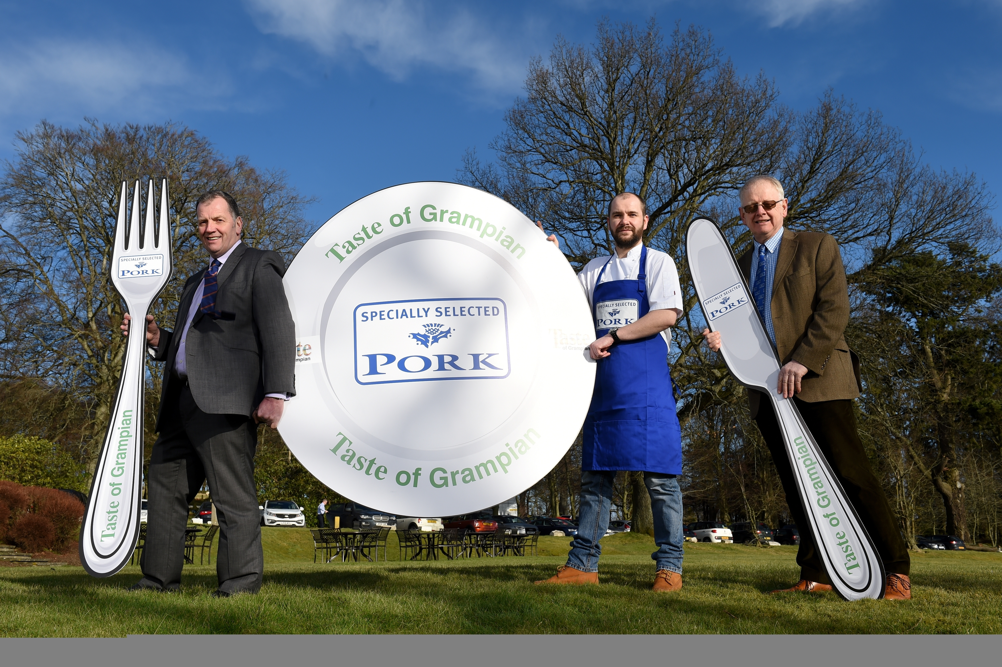 Taste of Grampian 2016 launch event - Picture of (L-R) John Gregor (Taste of Grampian Chairman and Executive Director at the ANM Group), Brian McLeish (head chef at Moonfish Café) and Philip Sleigh (North-east pig farmer / QMS Board member)  Picture by KENNY ELRICK