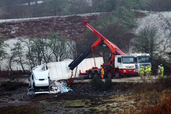The lorry which crasheed near Oban