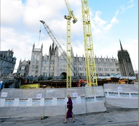 Building work going on at Marischal Square earlier this year.