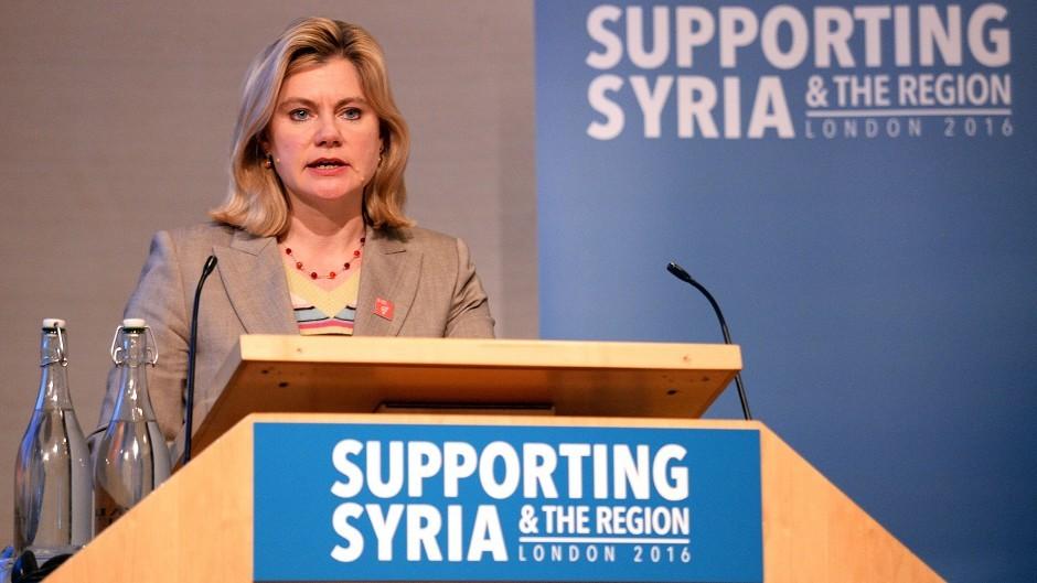 Secretary of State for International Development Justine Greening speaks during International Syria NGO conference