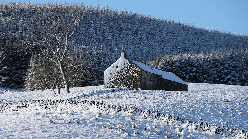 Snow-covered hills of the Carron Valley in Stirling, Scotland, as snow, ice and sub-zero temperatures sweep the country.