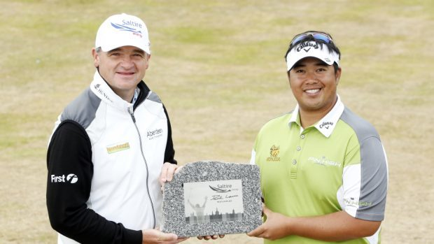 Kiradech Aphibarnrat, right, won the inaugural Saltire Energy Paul Lawrie Match Play last year