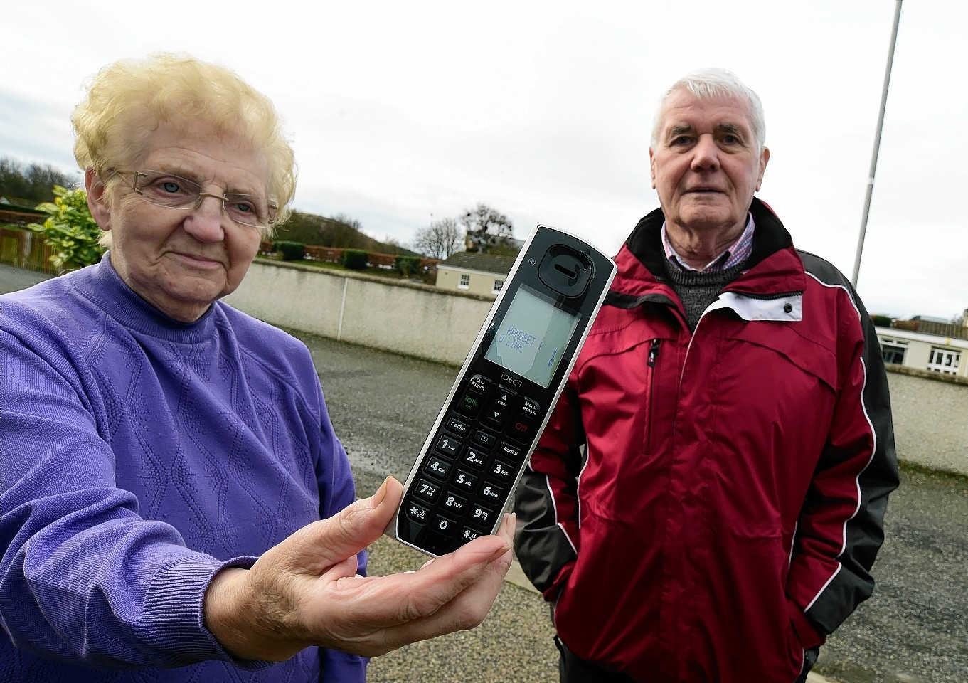 Margaret Wood, pictured with councillor Ian Gray, has been unable to make calls since December.