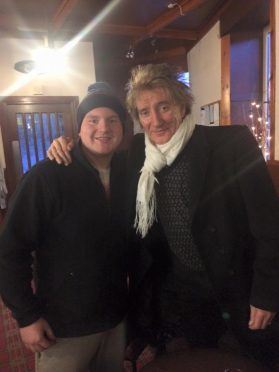 Rod Stewart pictured in the Woodend Bar before the game