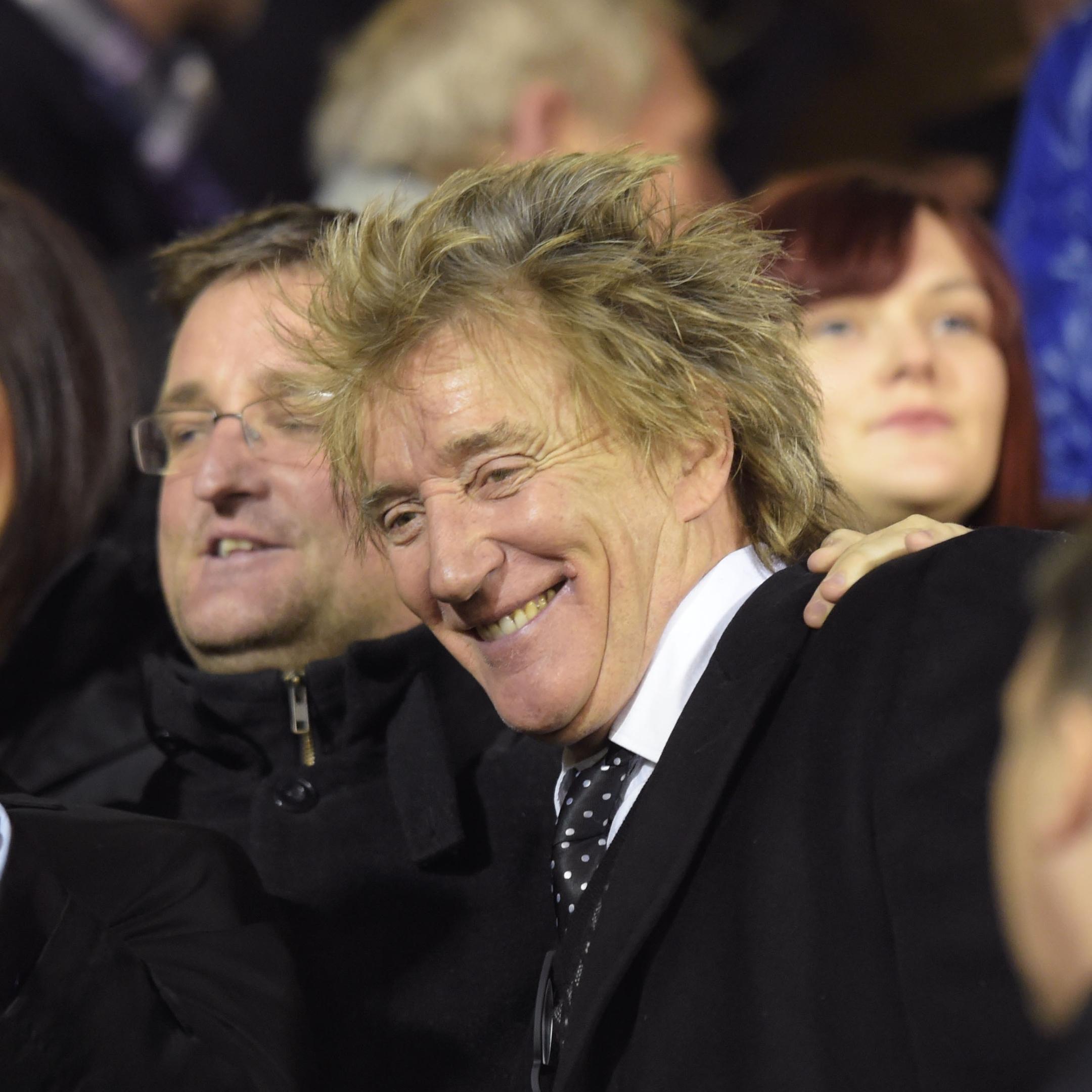 Celtic fan Rod Stewart was all smiles ahead of kick off