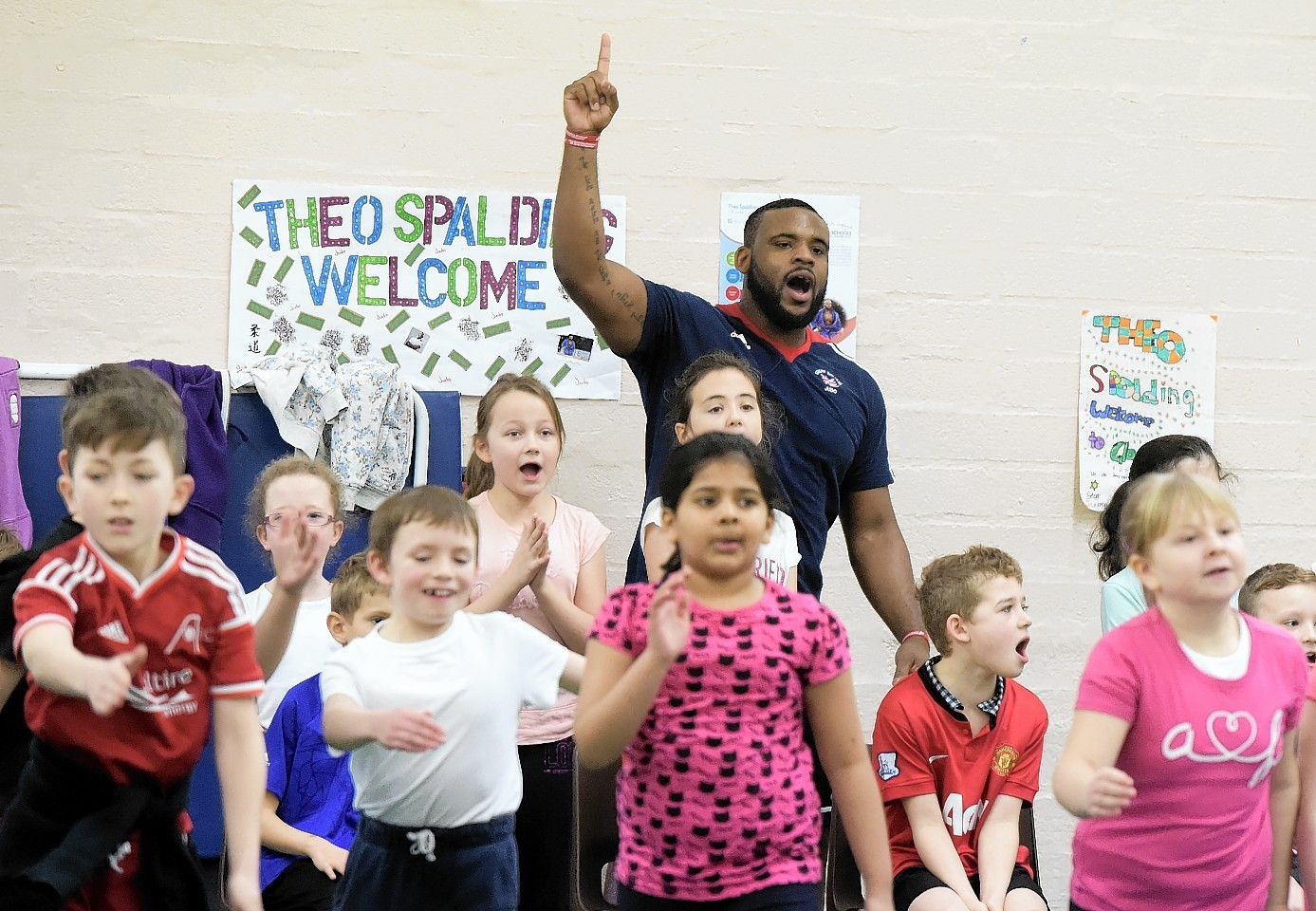 British and Commonwealth Judo champion Theo Spalding visited Glashieburn Primary school to participate in a fitness circuit event with the pupils. Picture by Kami Thomson
