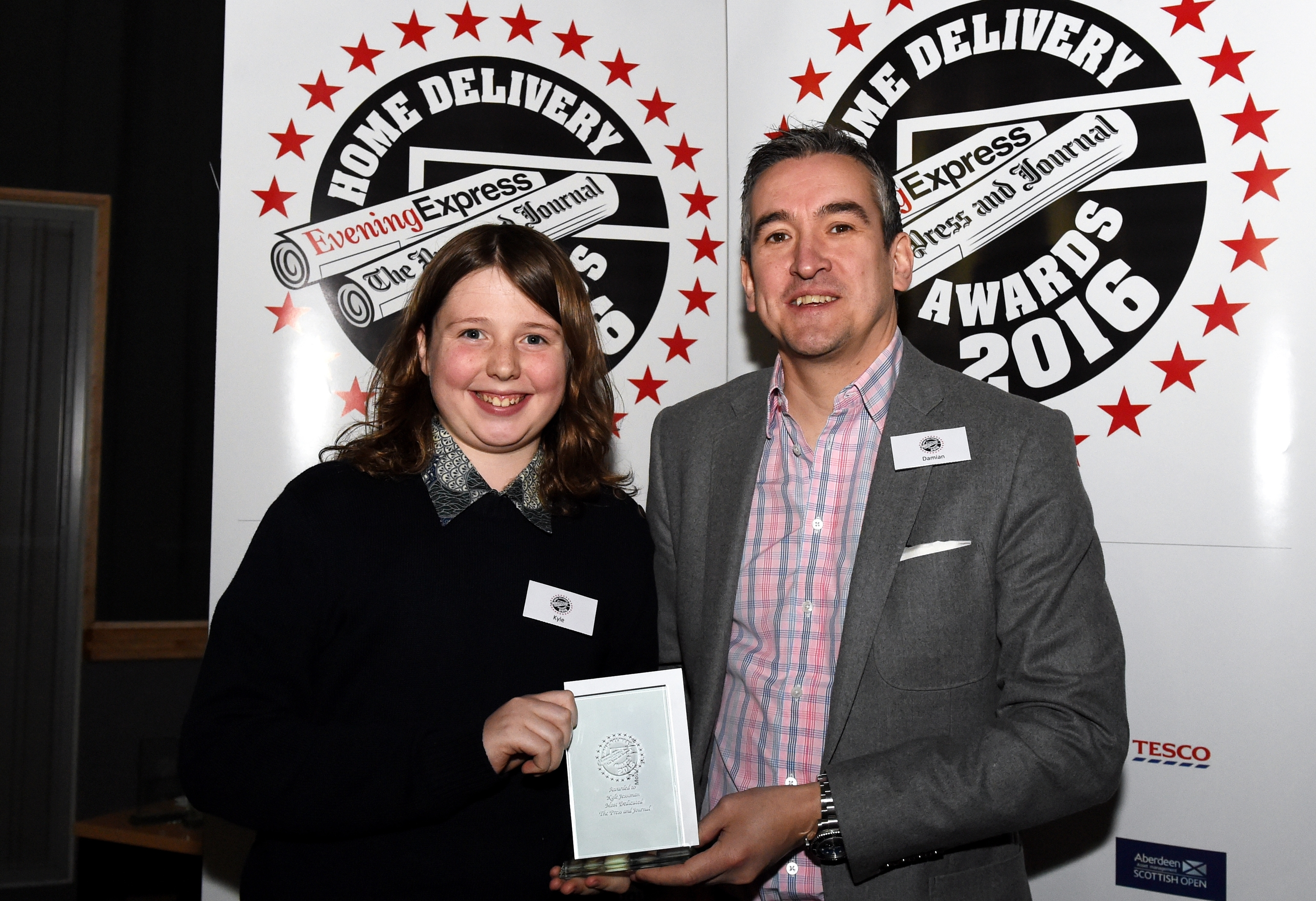 Aberdeen Journals ; Press and Journal and Evening Express Home Delivery Awards 2016, at the Belmont Cinema, Aberdeen. Pictured - Press and Journal Most Dedicated delivery agent City and Shire winner Kyle Jessiman of Newtonhill with Press and Journal Editor Damian Bates. Picture by Kami Thomson 17-04-16