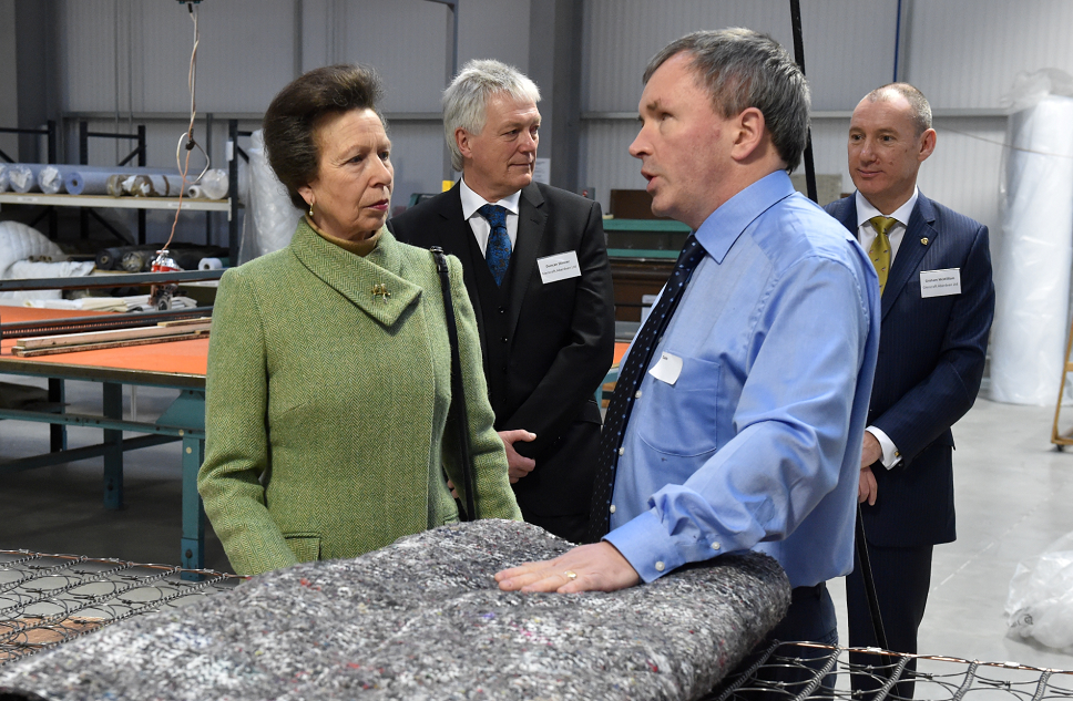 Princess Anne talking to Colin Middler as she officially opens the Glencraft Showroom and Factory