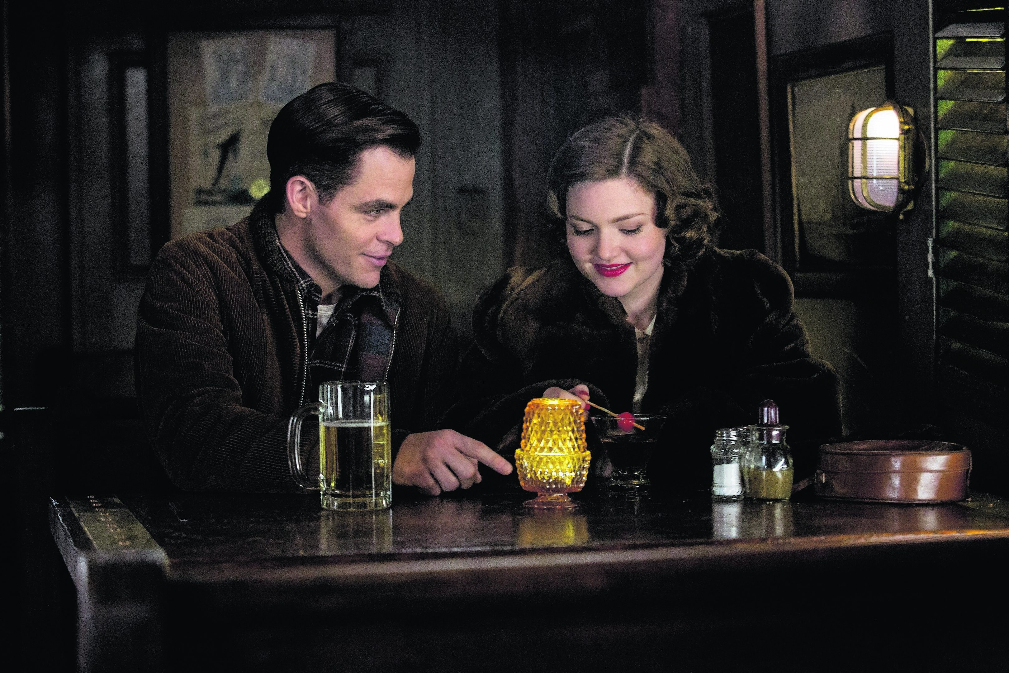Chris Pine as Bernie Webber and Holliday Grainger as Miriam in The Finest Hours