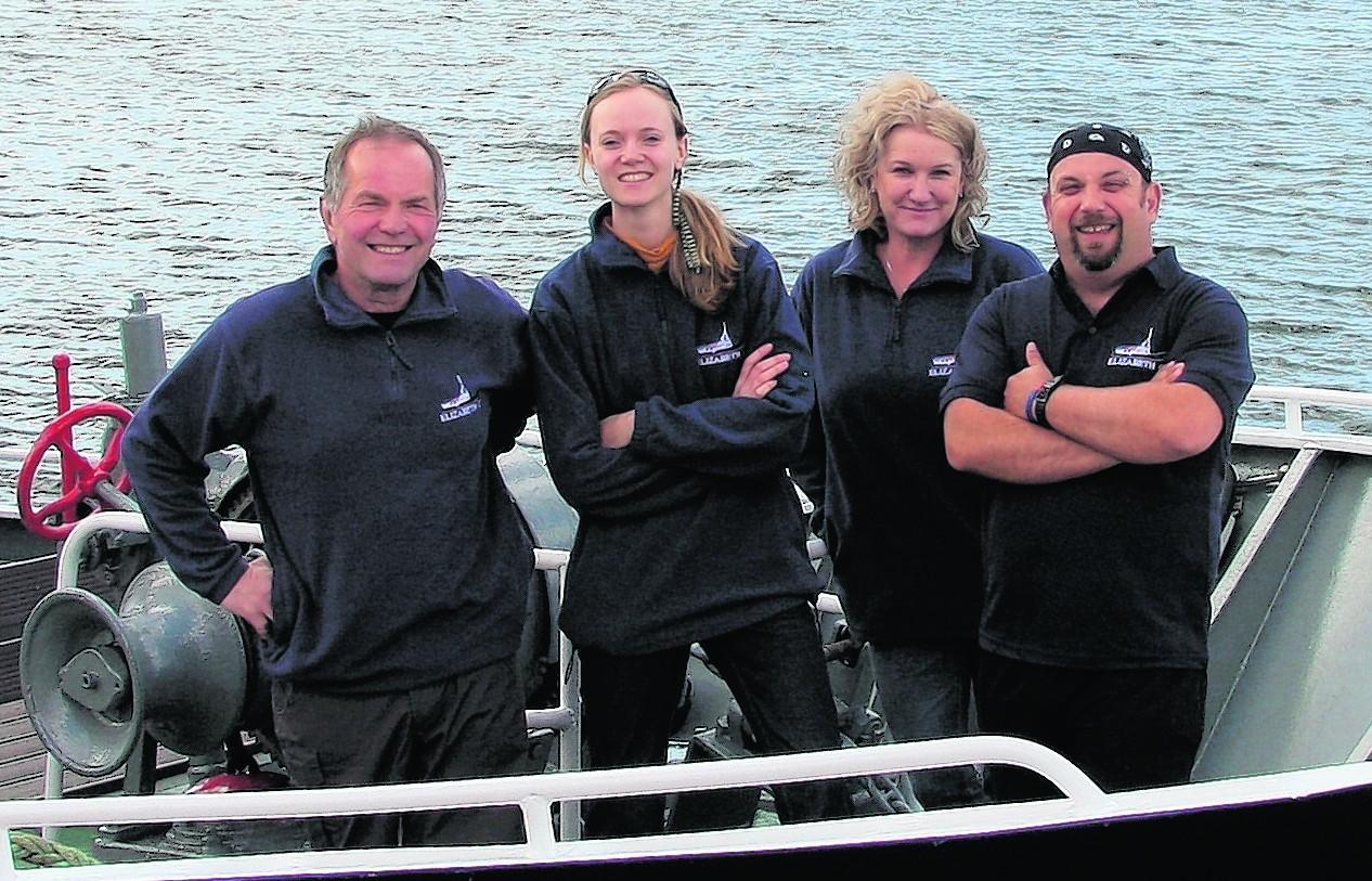 From left: skipper Rob, guide Vivi, bosun Sarah and chef Steve