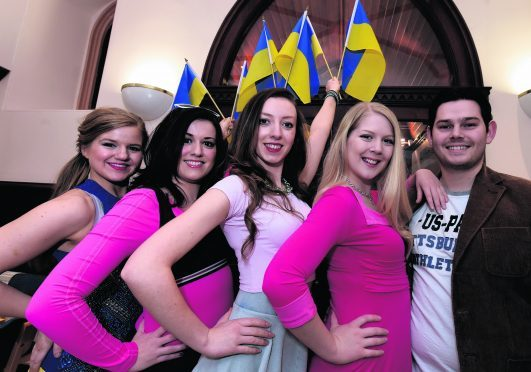 Legally Blonde cast members, from left: Aneeka Anderson, Jen Birtwistle, Colette Murray, Katie Milne and Ian Baxter. PHOTO: Jim Irvine