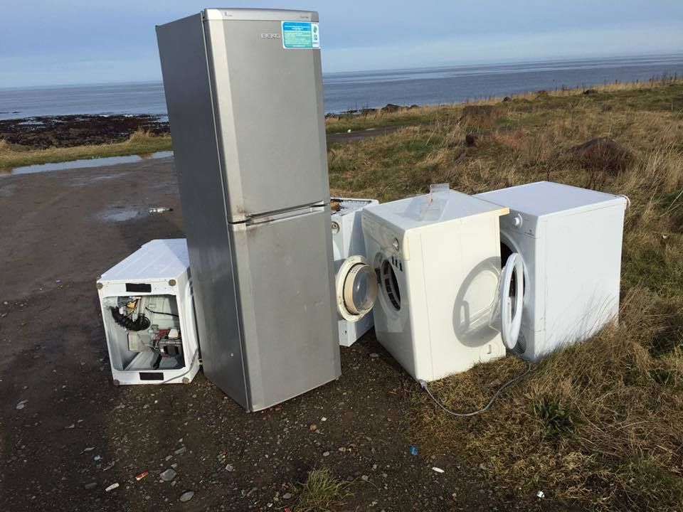 The kitchen appliances left dumped at Broadsea. Picture by Robert Mcginlay.