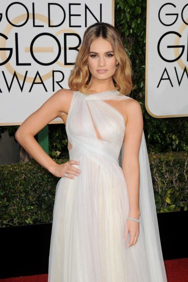 Lily James at the Golden Globes in Los Angeles