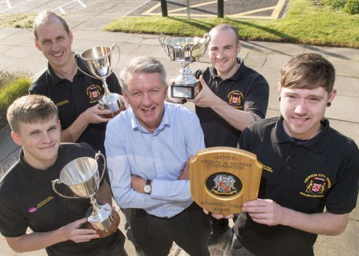 Michael Spence (plumber),Craig Paterson (plumber) , Douglas Gibb (apprentice mentor), Graeme Baird (electrician), Daniel Webster (joiner),  and Aberdeen City Council Apprentice with their awards