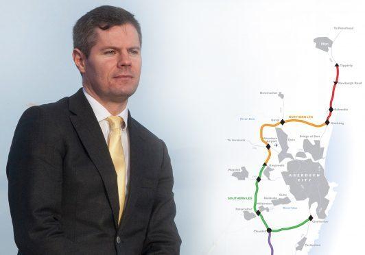 AWPR map and Transport Minister Derek Mackay