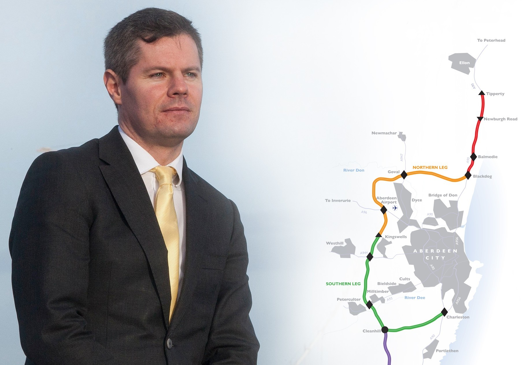 AWPR map and Transport Minister Derek Mackay