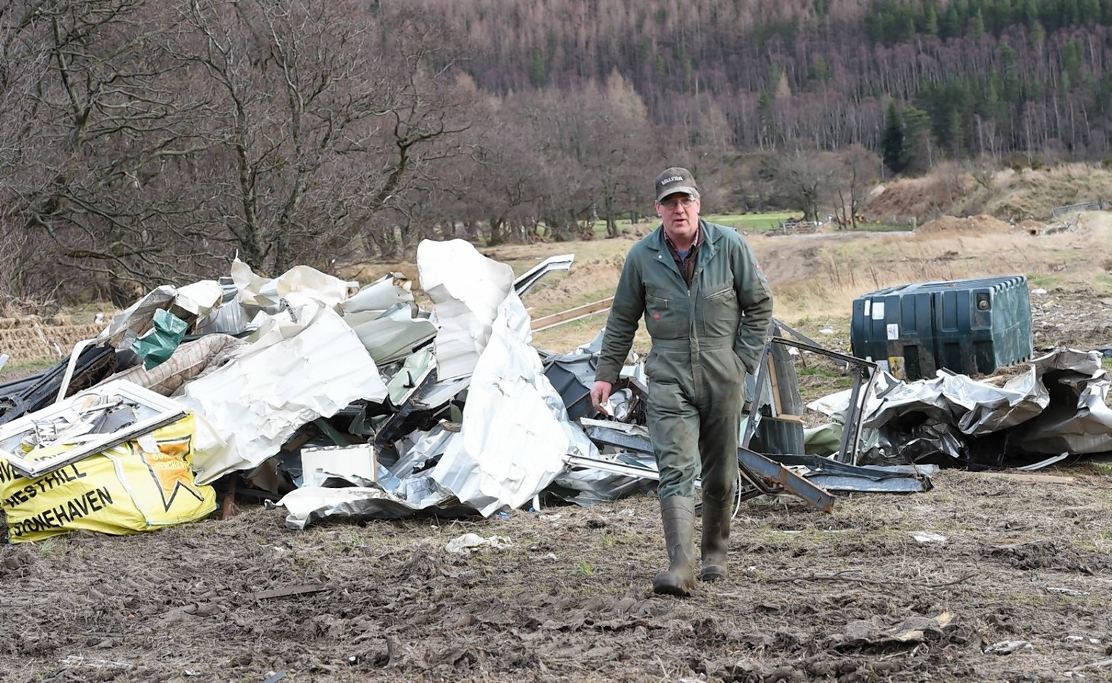 Allan Adams on his flood-hit Ballater farm. Picture: Kevin Emslie.