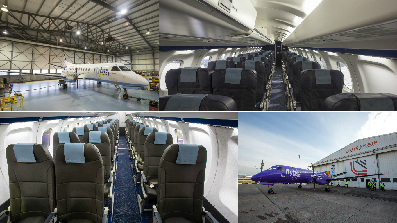 Loganair plane before and after