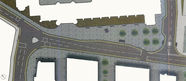 Plans showing ideas for the pedestrianisation of Broad Street in Aberdeen.
