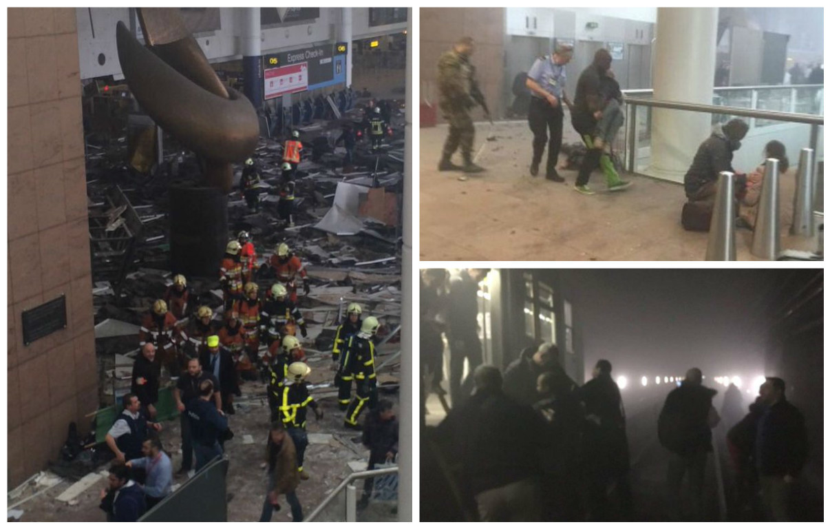 Montage of images from the Brussels attacks