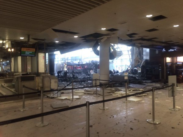 The empty arrivals hall in Brussels Airport after the explosion