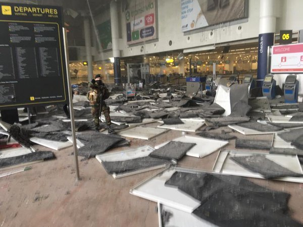 The carnage left behind following the explosions at the airport