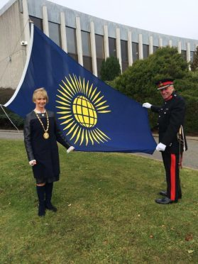 Lord Lieutenant of Aberdeenshire James Ingleby and former Provost Jill Webster mark Commonwealth Day 2015
