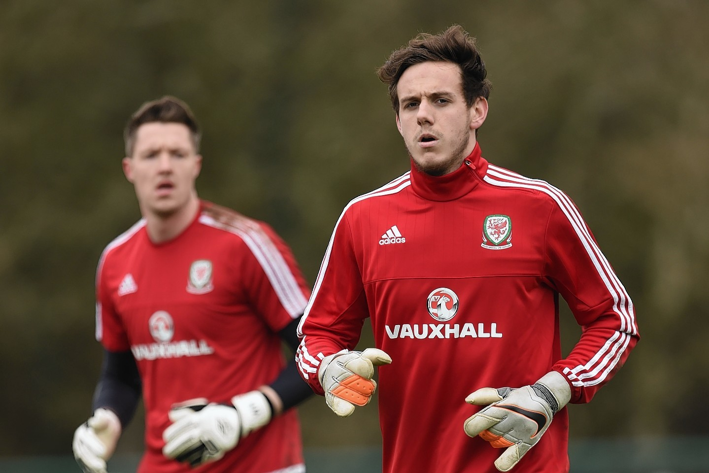 Ward at training with the Welsh squad