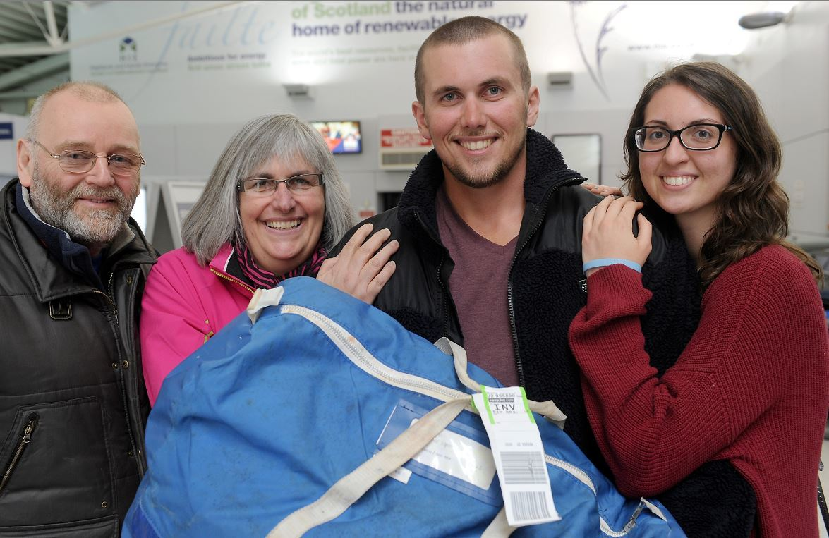 Happy homecoming for Duncan Brown with Chris McMillan, his mother Christine McMillan and girlfriend Selene Gentili