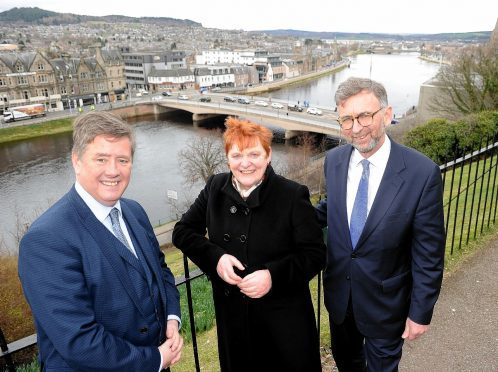 Keith Brown, Margaret Davidson and Lord Dunlop following the signing of the historic Inverness City Deal in 2016. Picture by Sandy McCook.