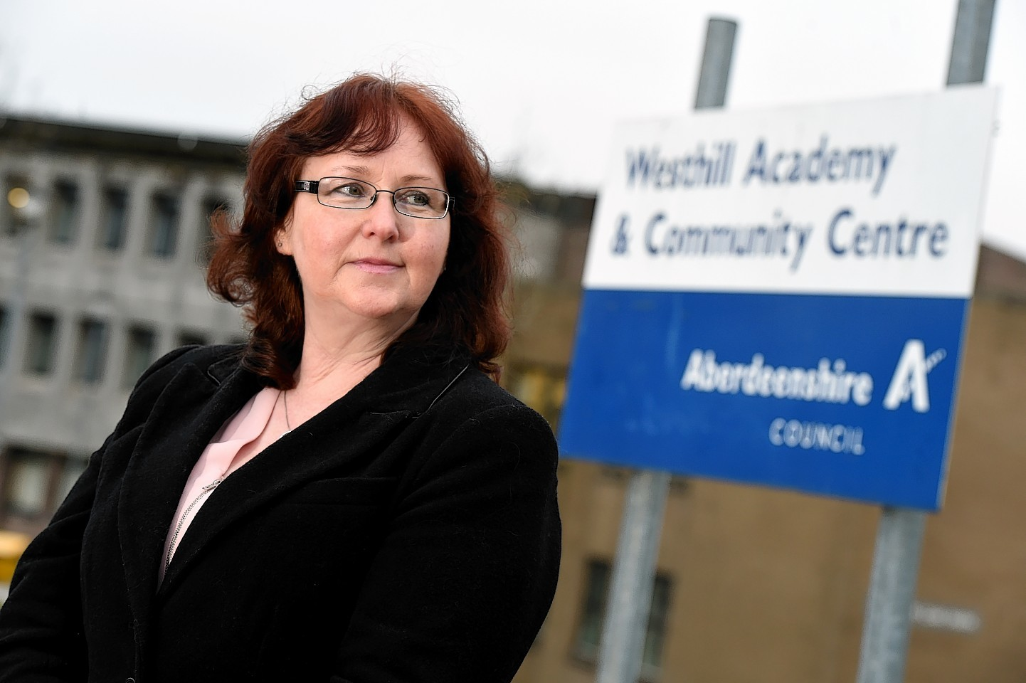 Councillor Iris Walker outside Westhill Academy