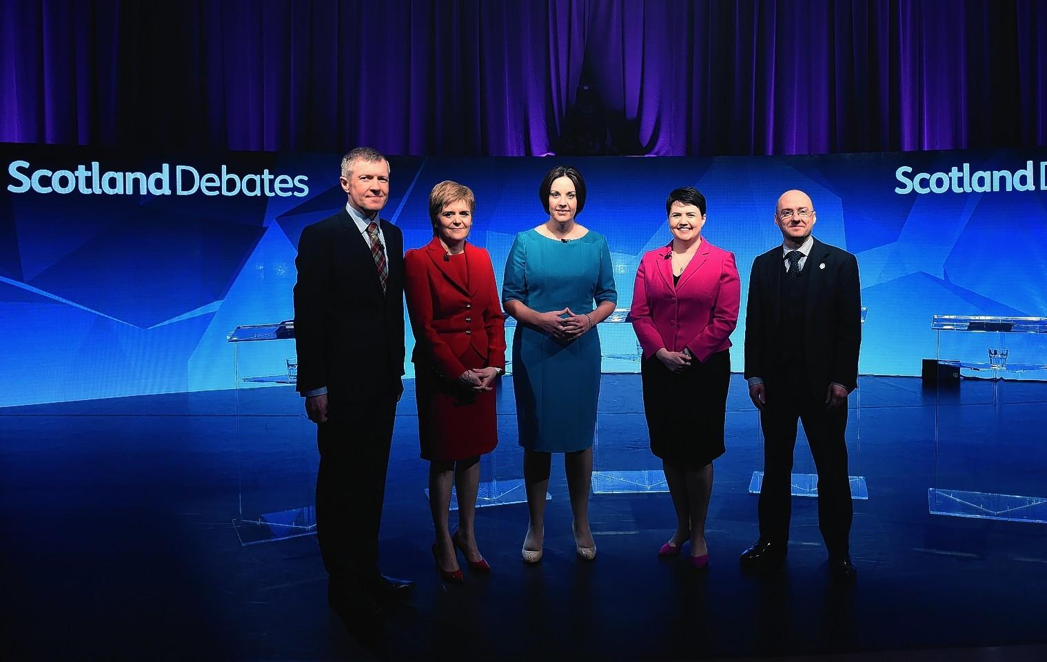 Lib Dem Willie Rennie, SNP leader Nicola Sturgeon, Scottish Labour's Kezia Dugdale, Ruth Davidson of the Scottish Conservatives, and Patrick Harvie of the Scottish Greens