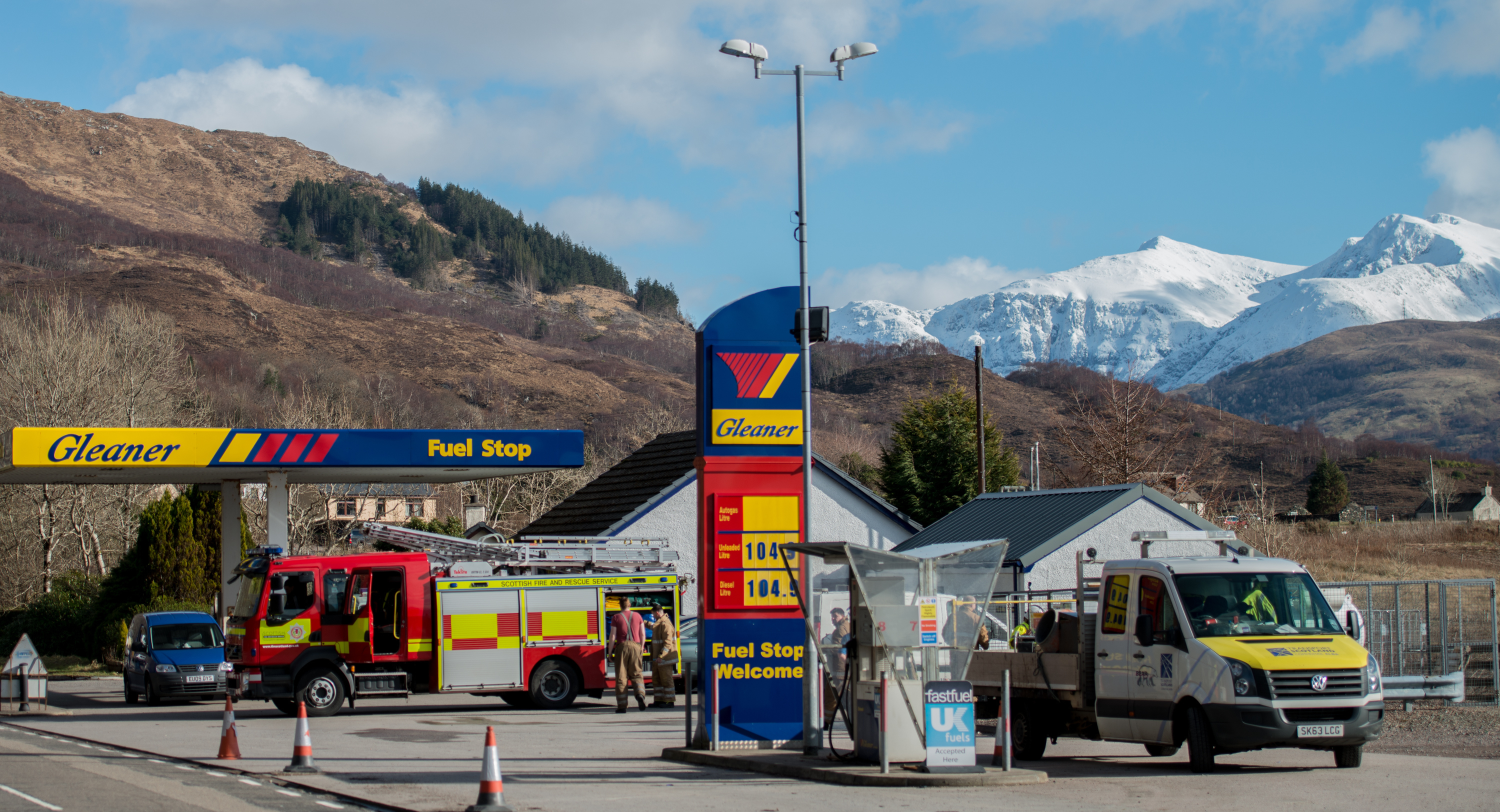 Fire crews attend a fuel spill at the filling station in Onich
