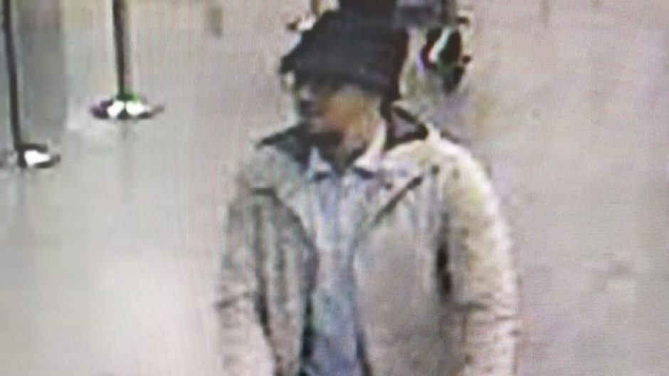 CCTV image issued by Belgian Federal Police of the man hunted in connection with the explosions at Brussels airport