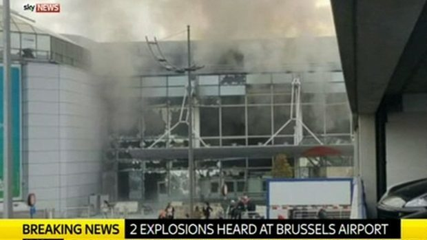A screengrab taken from Sky TV of the scene at Brussels Airport, Belgium, where two explosions have been heard