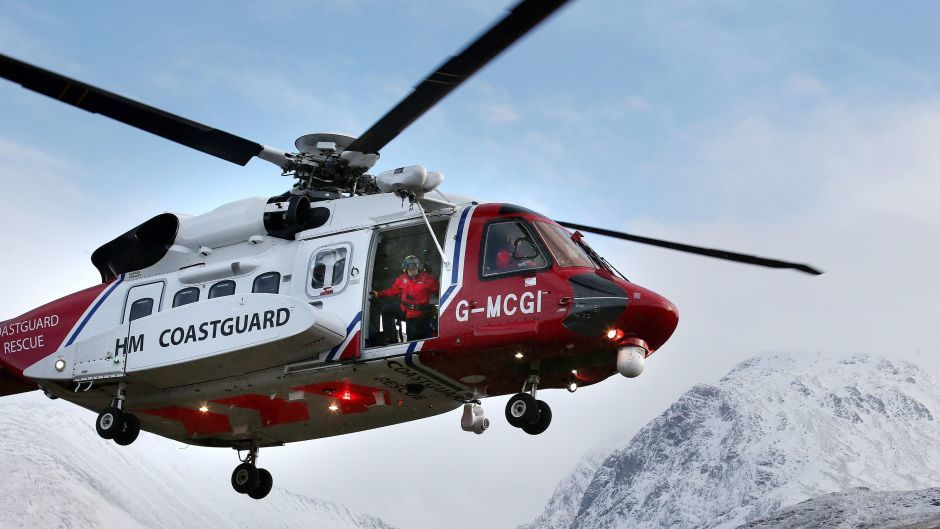 The coastguard search and rescue helicopter