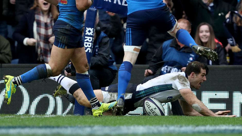 Scotland's Tim Visser scores his team's third try against France