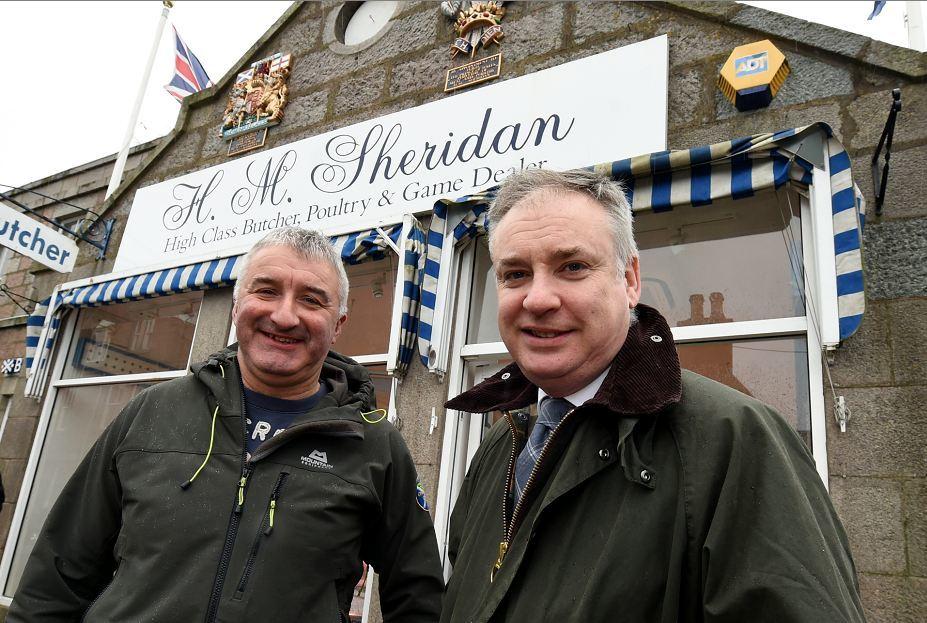 John Sinclair, of Sheridan butchers, Ballater, with Richard Lochhead yesterday.  Credit: Jim Irvine.