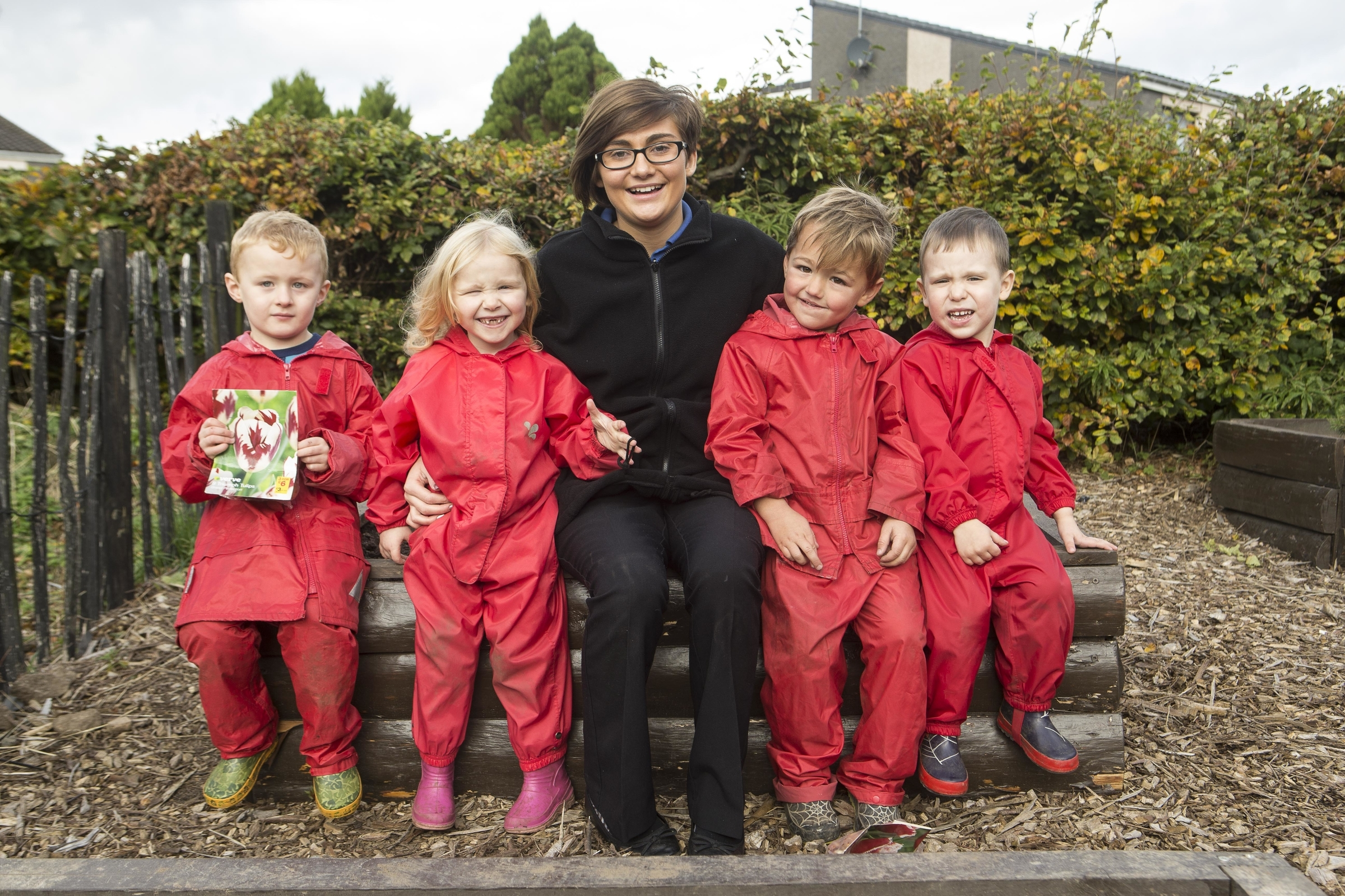 Youngsters Charlie More, Emily Taylor, Campbell Stephen and Nikita Volovik with junior manager Stephanie Reidford at Clockwork Nursery