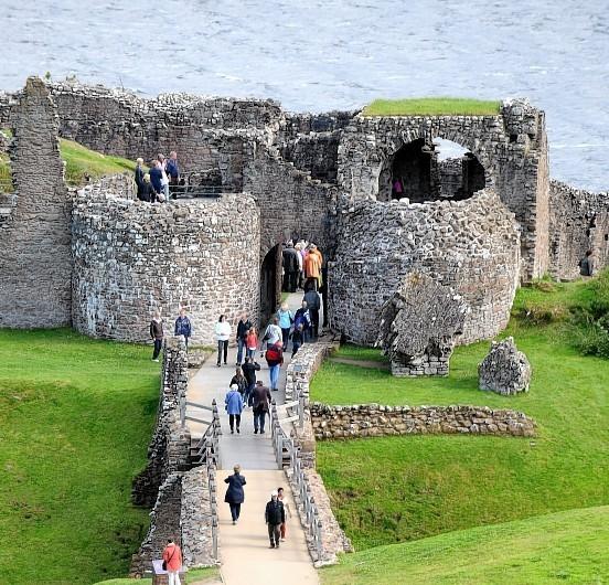 Tourists visiting Urquhart Castle