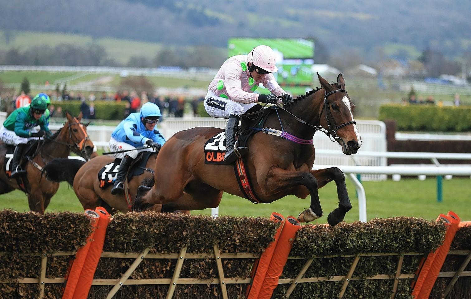 Vroum Vroum Mag ridden by Ruby Walsh jumps the last fence on the way to winning the OLBG Mares' Hurdle during day one of the 2016 Cheltenham Festival