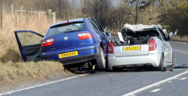 Picture from the scene of the serious crash on the A947