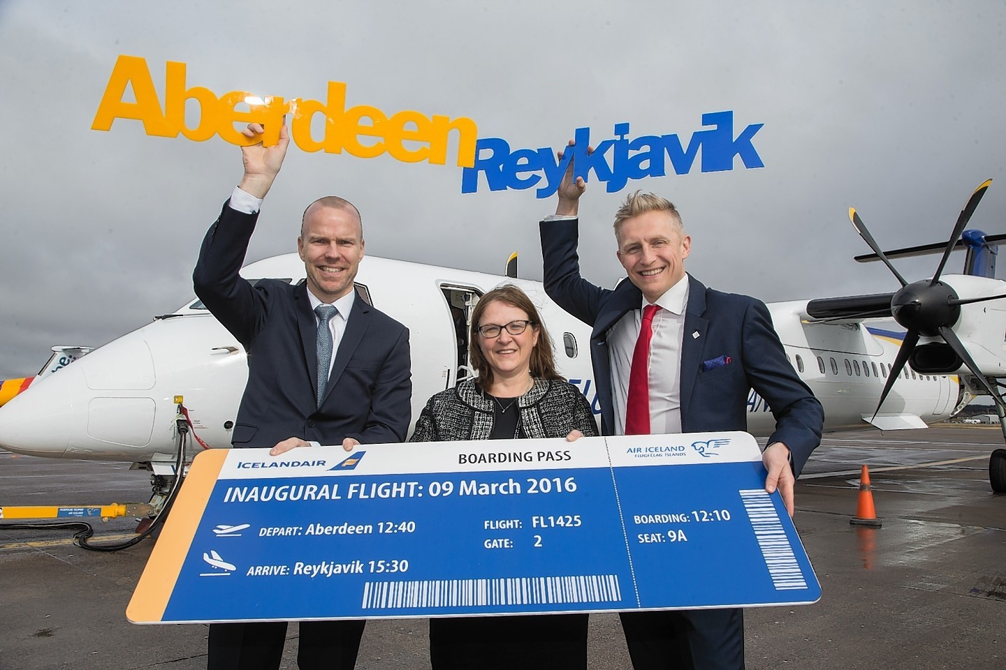 Aberdeen International Airport managing director Carol Benzie with Air Iceland chief executive Arni Gunnarsson, left, and Icelandair general manager Andres Jonsson