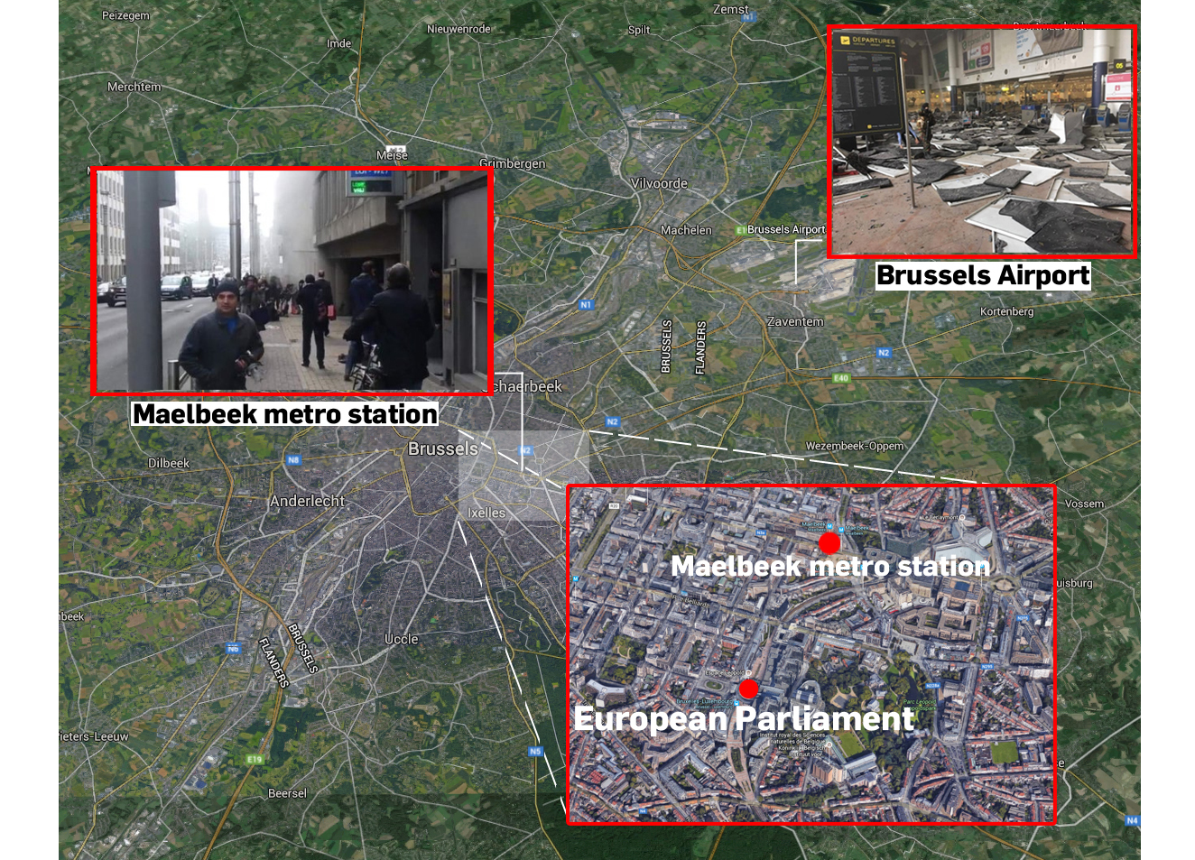 Brussels attacks map
