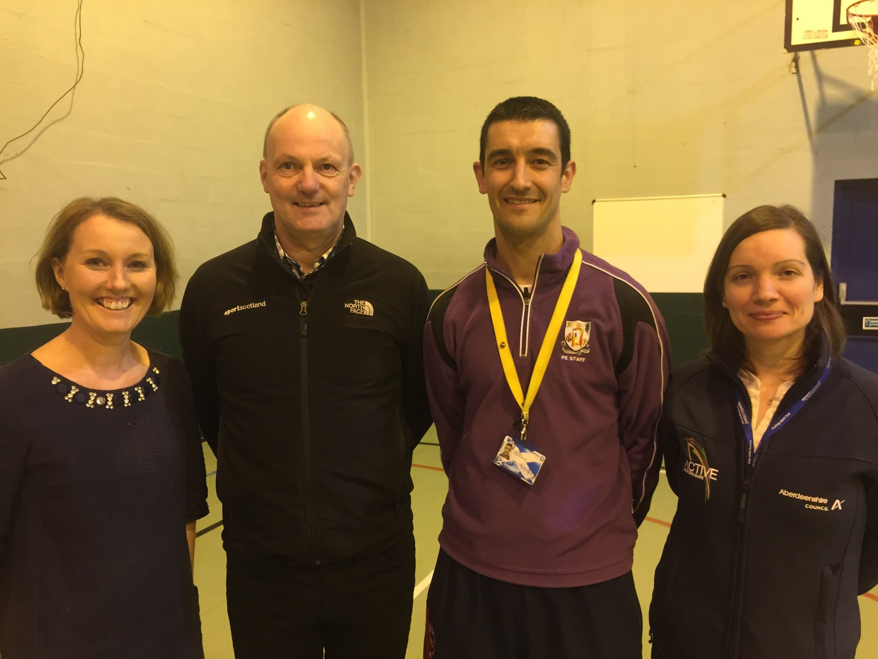 Head teacher Judith Wight, Alan Clark from Sportscotland, PE teacher Barry Petrie and active schools coordinator Susie Mclarty