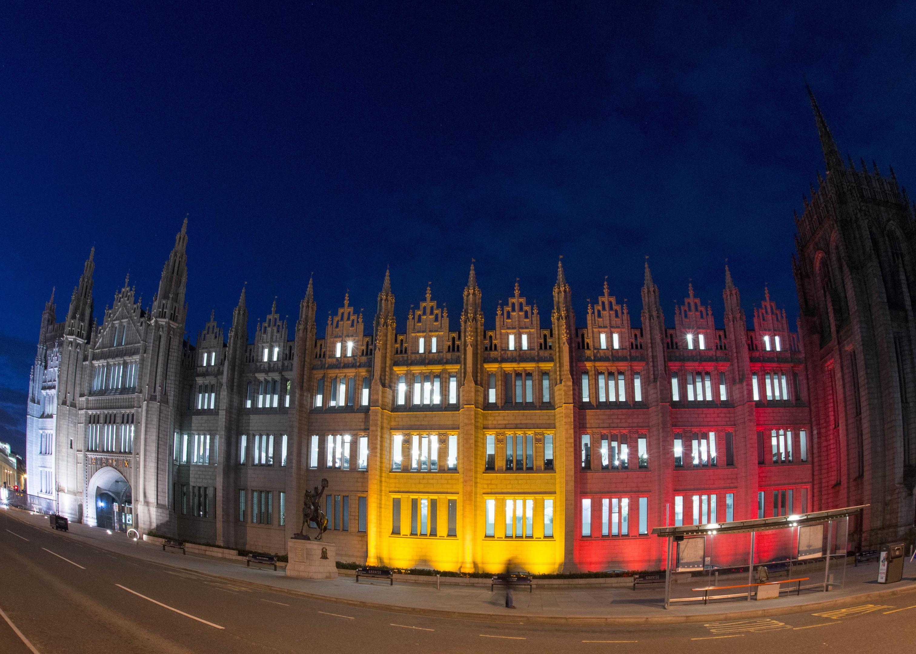23/03/16 Marischal lit up fwith colours of Belgium flag