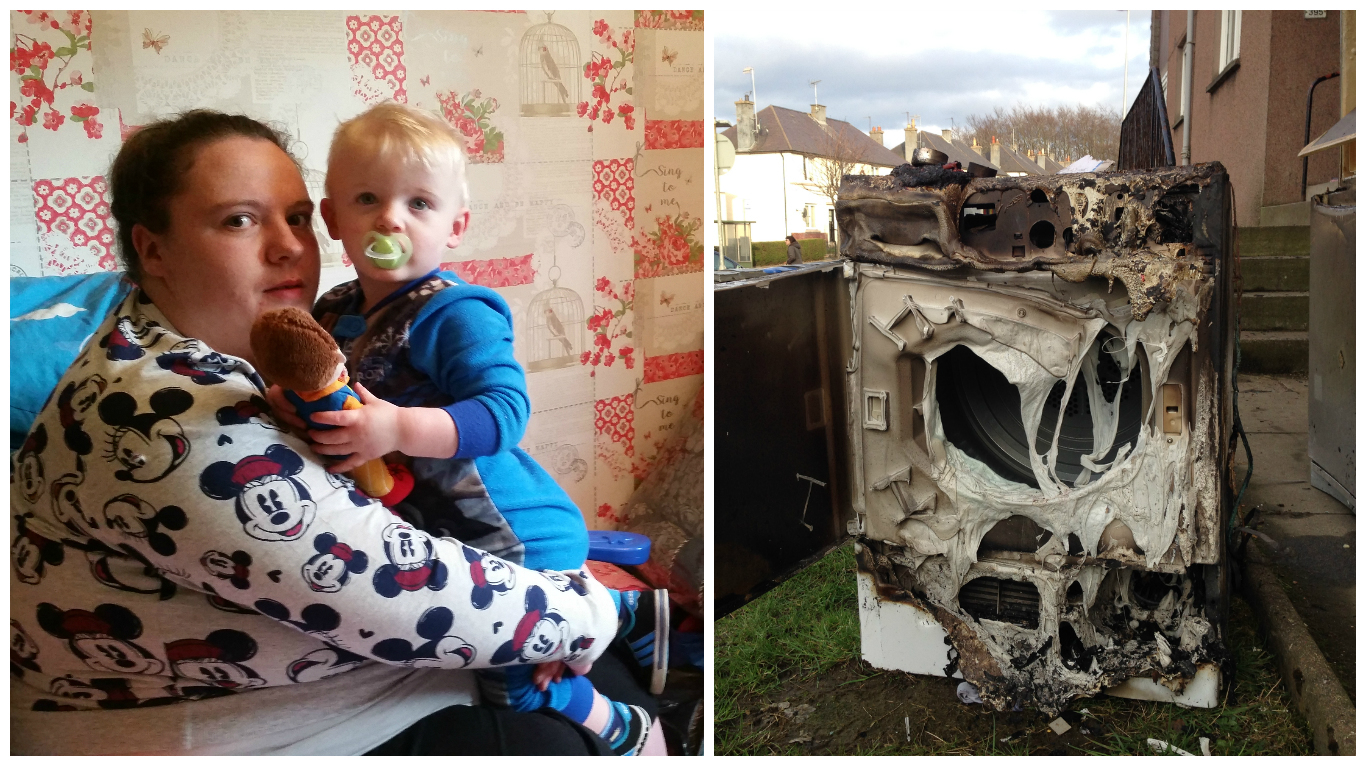 The blaze is understood to have started with Miss Wilson's tumble drier