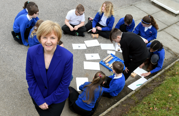 Council leader Jenny Laing with some of the pupils this week
